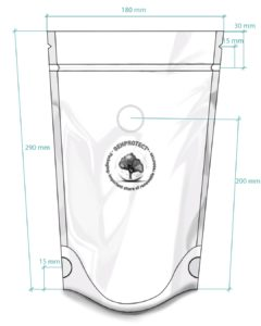 Illustration with the dimensions of a special bag